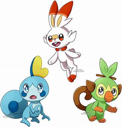 Galar Starters Pokemon Starrysky Hikary Deviantart Shield