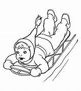 Coloring Sliding Sled Winter Down Kid Brave Season Printable Netart Getcolorings выбрать доску sketch template