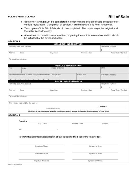vehicle bill of sale form alberta free