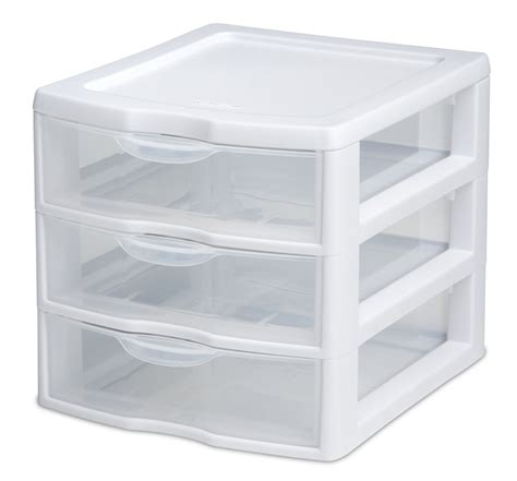 Drawer Containers by Sterilite Narrow Clear View 3 Drawer Cart Storage Portable