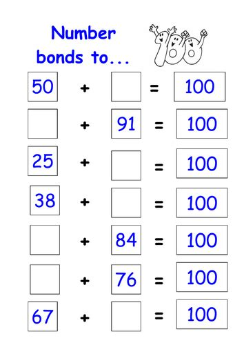 number bonds to 100 worksheet by kmed2020 teaching resources tes
