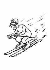 Coloring Skiing Downhill Pages Printable sketch template