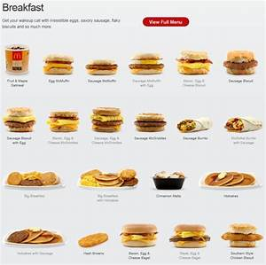 The McDonald's breakfast Picture Menu | Picture Fast Food ...