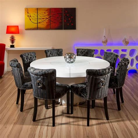 round table seats 8 dining room top modern round dining room table for 8