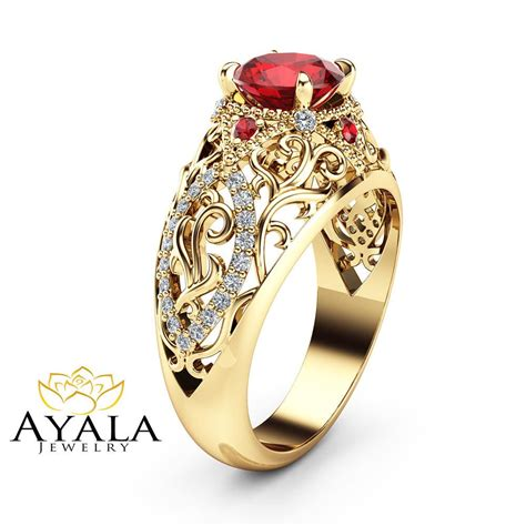ruby unique engagement ring 14k yellow gold filigree ring