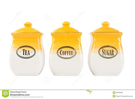 coffee tea service sets pots of tea coffee and sugar yellow white color on a