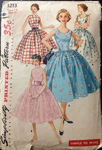 Simplicity 1213 1950s Rockabilly DRESS Pattern Full Skirt ...