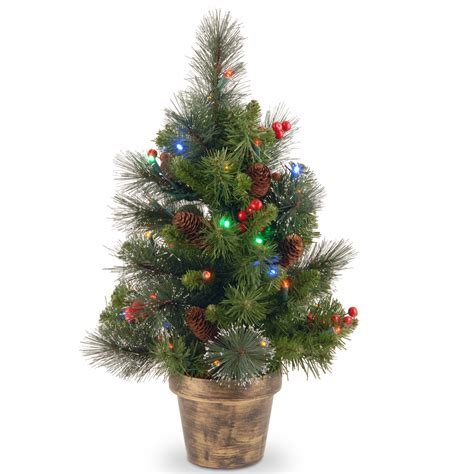battery operated mini christmas trees national tree company 2 ft crestwood spruce tree with battery operated multicolor led lights