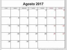 Agosto 2017 Calendario Para Imprimir Calendarios Para