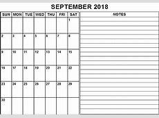 September 2018 Calendar Notes Free CALENDAR PRINTABLE
