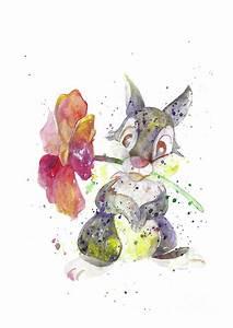 Bunny Cartoon Disney Watercolor Art Print Wall Art
