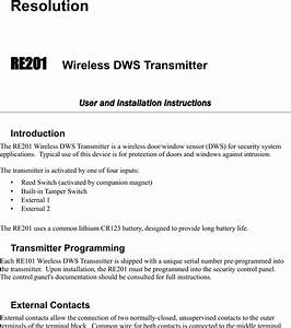 Resolution Re201 Door  Window Transmitter User Manual