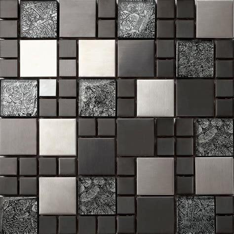 glass mosaic tile metallic brushed steel black hongkong glass mosaic tiles