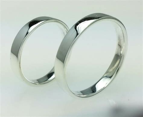 Sterling Silver Wedding Band Rings Set 4mm Polished His