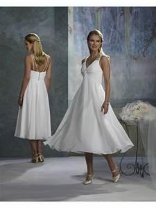 tea length white wedding dress in empire silhouette With white tea length wedding dress