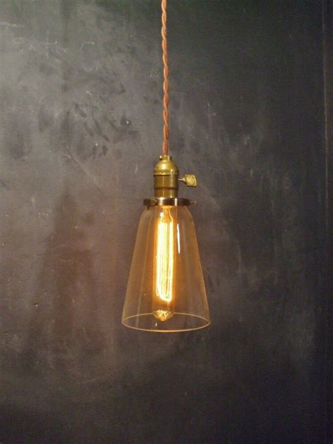 Vintage Industrial Hanging Light W Tubular Glass Shade