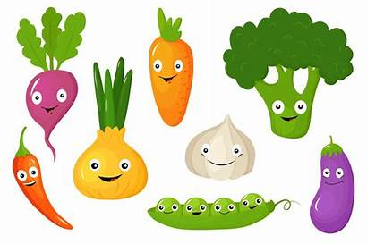 Vegetables Cartoon Funny Vegetable Fruits Drawing Various