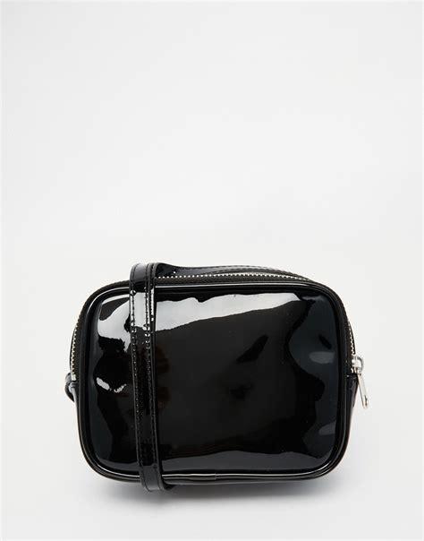 lyst monki patent cross body bag  black