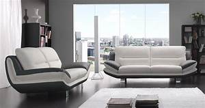 Canapé Cuir Design : nashik cuir ou microfibre bicolore personnalisable sur ~ Voncanada.com Idées de Décoration