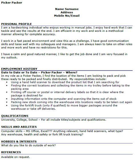 Factory Packer Resume by Picker Packer Cv Exle Icover Org Uk