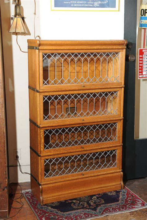 Lawyer Bookcases Glass Doors by Four Section Oak Lawyer S Bookcase With Leaded Glass Doors