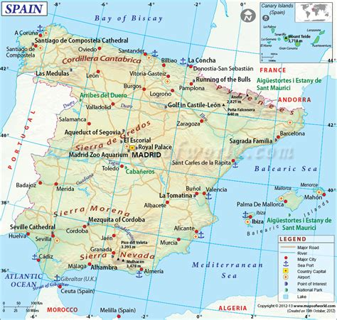 spain map showing  major cities airports roads