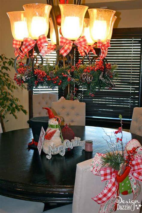 christmas dining room decor   tie  simple bow