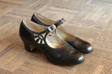 20% Off Sale / Vintage Nos 1920s Shoes / 20s Black Leather