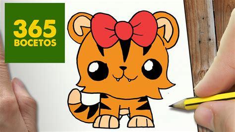 como dibujar tigresa kawaii paso a paso dibujos kawaii