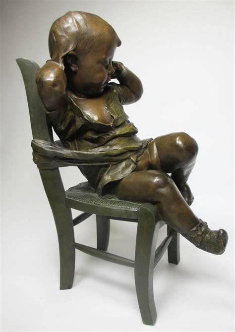 19th century patinated bronze sculpture quot l enfant assis sur une chaise quot for sale at 1stdibs