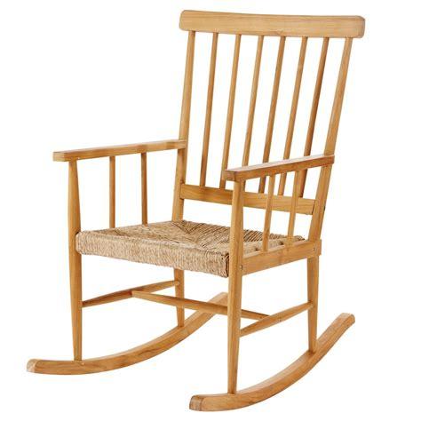 rocking chair en teck nutshell maisons du monde