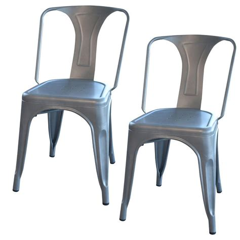 amerihome silver metal dining chair set   bsgset