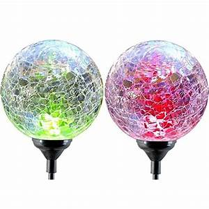 Solar globe lights oxyled crystal glass led light stake color changing outdoor