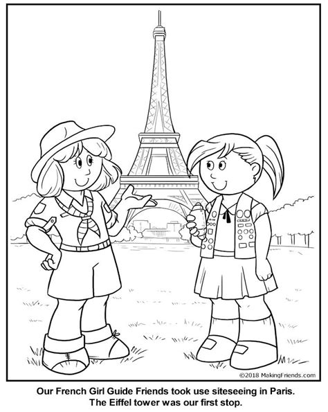 french girl guide coloring page france thinking day