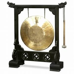 Brass Gong With Dragon Stand