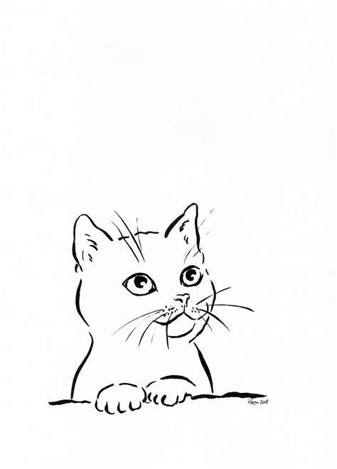cute cat   ink drawing drawing  karen kaspar