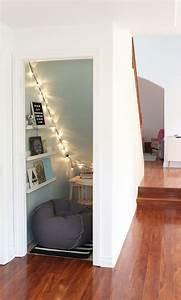 Kitchen Cupboard Lights Unused Closet To Cozy Book Nook Kid 39 S Room Under