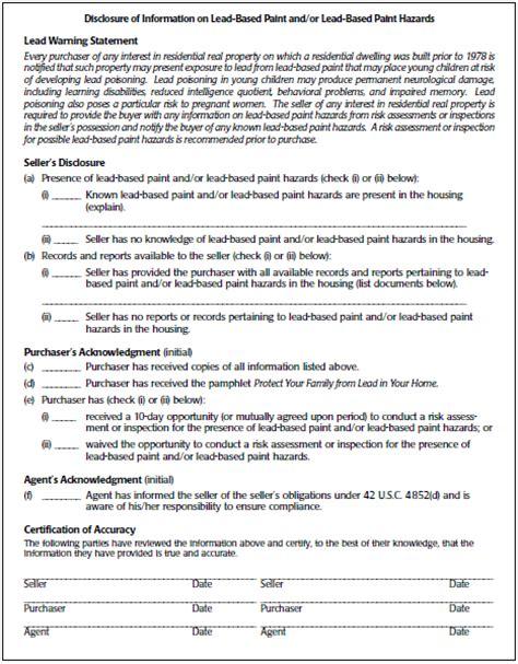 nyc lead paint disclosure form lead base paint disclosure