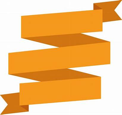 Ribbon Banner Orange Golden Pngkey Transprent Transparent