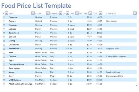 food price list designed     easy