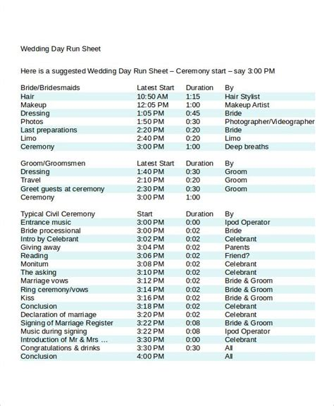 image result  wedding day run sheet template excel