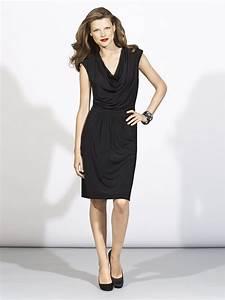 Chic above the knee v neck little black dress for your for Little black dress for wedding