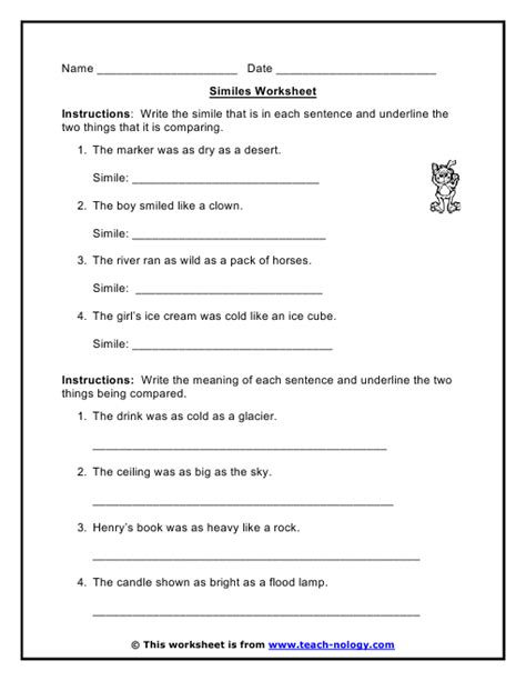 all worksheets 187 similes worksheets printable worksheets