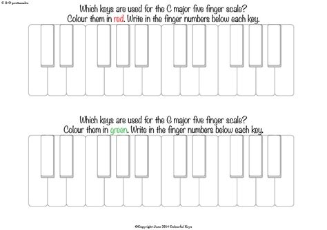 C And G Piano Pentascale Worksheets  Colourful Keys