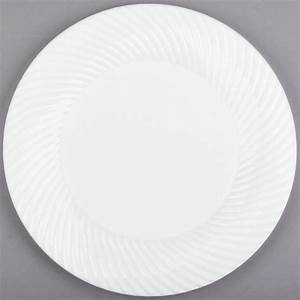 "Visions Wave 10"" White Plastic Plate - 144/Case  Plastic"