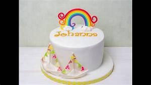 Regenbogen Einhorn Torte : baby torte tutorial regenbogen aus fondant papierschiffchen aus fondant youtube ~ Frokenaadalensverden.com Haus und Dekorationen