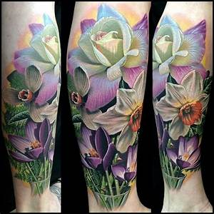 Violet, rose, daffodil tattoo - | Flower tattoos ...