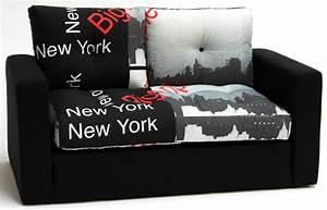 Tissu New York : canape lit deplimousse first tissu new york noir ~ Dode.kayakingforconservation.com Idées de Décoration