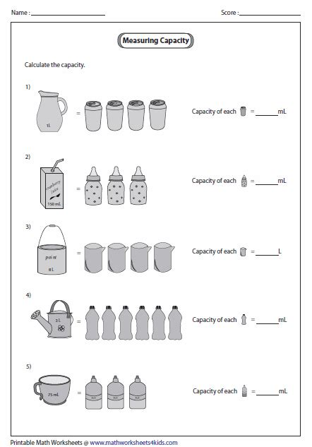 capacity of smaller object metric units math capacity worksheets worksheets for grade 3