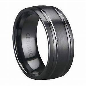 Black Ceramic Men39s Wedding Band Parallel Polished